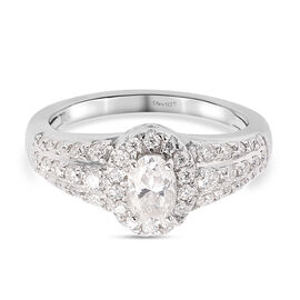 Moissanite Ring in Rhodium Overlay Sterling Silver 0.76 Ct.