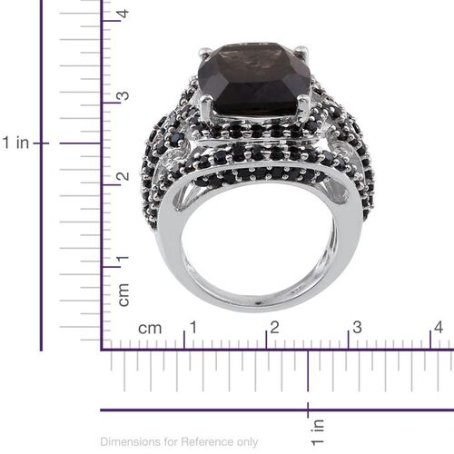 Brazilian Smoky Quartz (Cush 4.00 Ct), Boi Ploi Black Spinel Ring in Platinum Overlay Sterling Silver 8.000 Ct.
