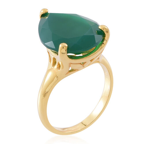 Verde Onyx (Pear) Ring in 14K Gold Overlay Sterling Silver 11.250 Ct.