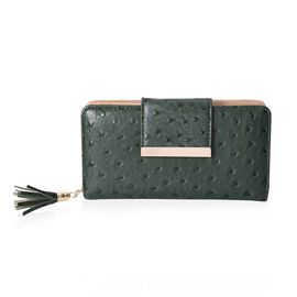 Dot Pattern Wallet with 5 Slip Pocket, 6 Card Slots and 1 Zip Pocket (Size 19.2x10x4 Cm) - Green