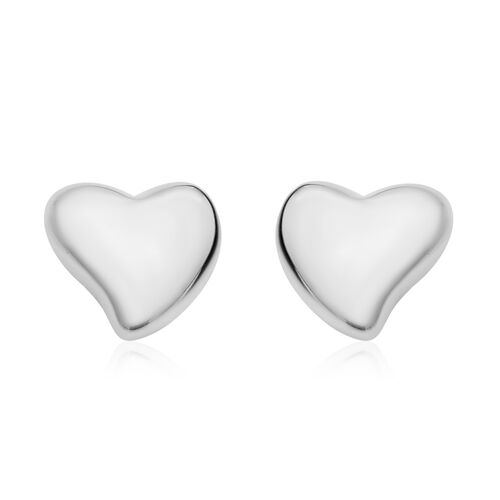 Sterling Silver Heart Stud Earrings (with Push Back)