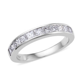 RHAPSODY 950 Platinum IGI Certified Diamond (Princess Cut) (VS/E-F) Half Eternity Band Ring 1.000 Ct.