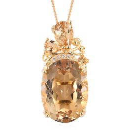 Citrine (Ovl 16x12 mm), Natural White Cambodian Zircon Pendant With Chain (Size 18) in Yellow Gold Vermeil Sterling Silver 9.940 Ct.