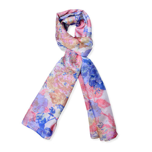 100% Mulberry Silk White, Pink and Multi Colour Floral Pattern Pareo (Size 180x110 Cm)