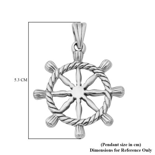 Thai Sterling Silver Ship Wheel Pendant