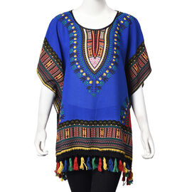 100% Cotton African Art Pattern Apparel with Tassels (One Size Fits All; 75x70 Cm) - Blue and Multi