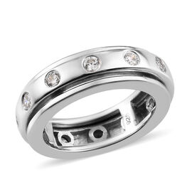 J Francis Platinum Overlay Sterling Silver Band Ring Made with SWAROVSKI ZIRCONIA, Silver wt. 6.00 G