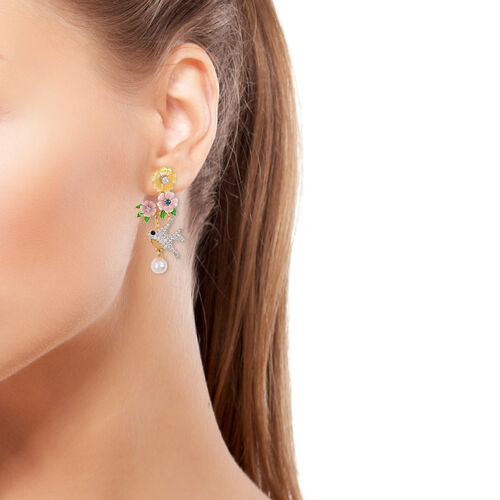 JARDIN COLLECTION -Fresh Water White Pearl, Pink and Yellow Mother of Pearl and Multi Gemstone Floral and Hummingbird  Earrings (with French Clasp) in Rhodium and Gold Overlay Sterling Silver 6.26 Gms