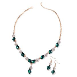 Simulated Emerald and White Austrian Crystal Necklace (Size 20 with 2.5 inch Extender) and Hook Earr