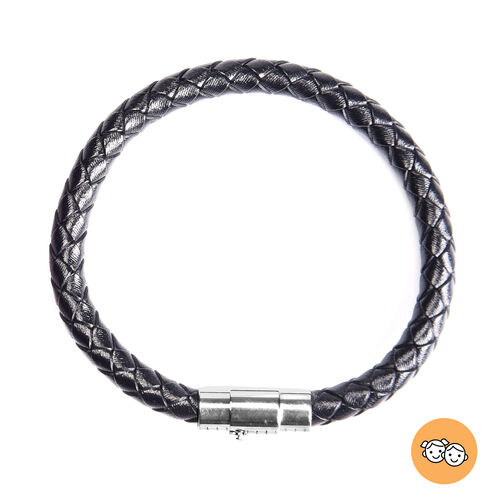 Genuine Braided Leather Bracelet (Size 7) in Stainless Steel - Black