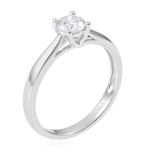 ILIANA 0.50 carat Brilliant Cut Diamond Solitaire Ring in 18K White Gold