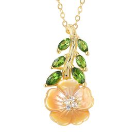 Jardin Collection - Yellow Mother of Pearl, Russian Diopside and Natural White Cambodian Zircon Flor