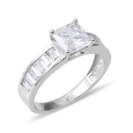 ELANZA Simulated Diamond (Sqr) Ring in Rhodium Overlay Sterling Silver