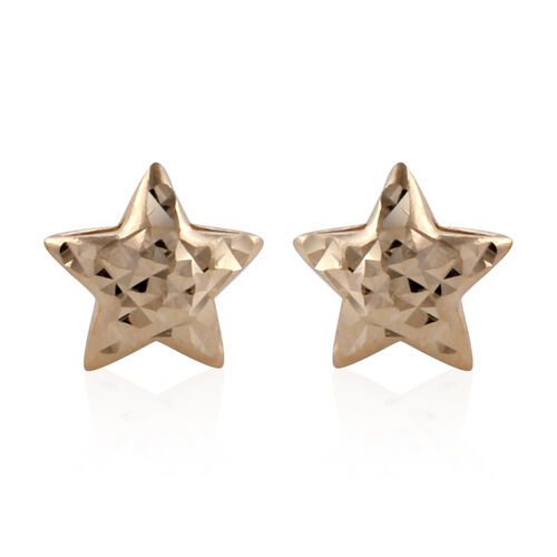 Royal Bali Collection 9K Yellow Gold Star Earrings (with Push Back)