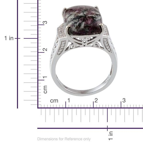 Natural Russian Eudialyte (Cush 9.00 Ct), White Topaz Ring in Platinum Overlay Sterling Silver 9.250 Ct. Silver wt 4.92 Gms.