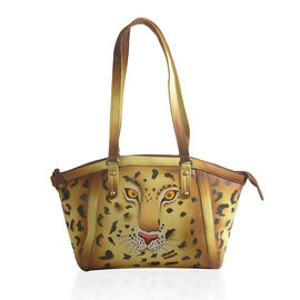 Couture Collection- 100% Genuine Leather Brown and Yellow Multi Colour Leopard Print Shoulder Bag (Size 42x25x10.50 Cm)