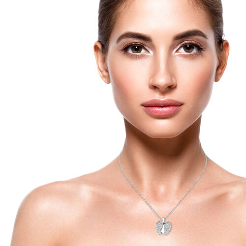 ELANZA Simulated Diamond (Rnd) Adjustable Necklace (Size 17 with 1 inch Extender) in Rhodium Overlay Sterling Silver, Silver wt 6.10 Gms