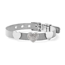 White Austrian Crystal Mesh Chain Heart Bracelet in Stainless Steel 6 to 7 Inch