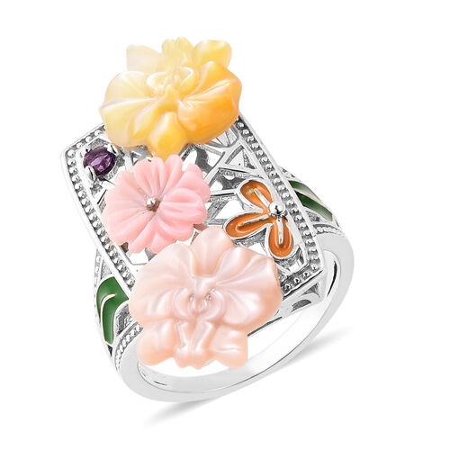 Jardin Collection - Pink Mother of Pearl, Amethyst and Multi Gemstone Enamelled Floral Ring in Rhodi