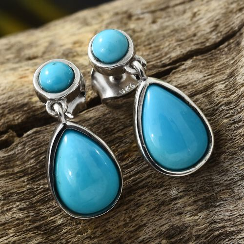 Arizona Sleeping Beauty Turquoise (Pear) Drop Earrings (with Push Back) in Platinum Overlay Sterling Silver 4.000 Ct.