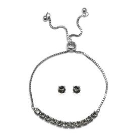 J Francis - 2 Piece Set - Crystal From Swarovski Black Diamond Crystal (Rnd) Adjustable Bolo Bracele
