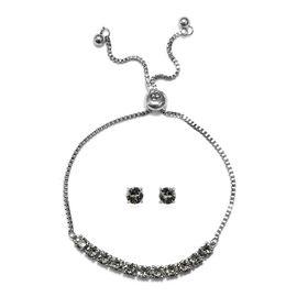 J Francis - 2 Piece Set - Crystal From Swarovski Black Diamond Crystal (Rnd) Adjustable Bolo Bracele