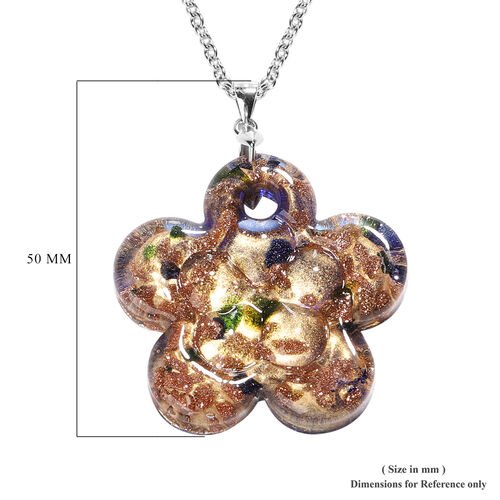 Blue Murano Glass Flower Pendant with Chain (Size 24) in Rhodium Overlay Sterling Silver and Stainless Steel