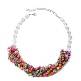 Multicolour Shell and Simulated White Mystic Topaz and Simulated White Pearl Chips Necklace (Size 20