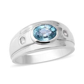 Ratanakiri Blue Zircon and Natural Cambodian Zircon Ring in Rhodium Overlay Sterling Silver 2.12 Ct.