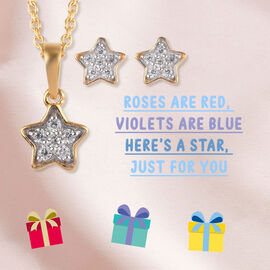 2 Piece Set Zircon Star Pendant for Kids with 20 Inch Chain and Stud Earrings in Gold Plated Sterling Silver