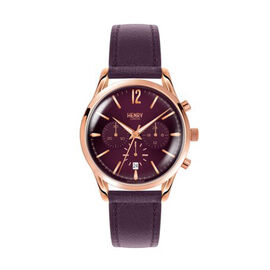 Henry London Hampstead Ladies Water Resistant Watch with Genuine Leather Strap - Purple