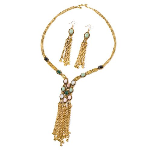 Simulated Emerald, Lapis and Multi Colour Stone Necklace (Size 30 with 2 inch Extender) and Hook Earrings in Yellow Gold Tone