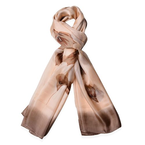 100% Mulberry Silk Coffee Colour Calla Lily Pattern Scarf (Size 170x110 Cm)