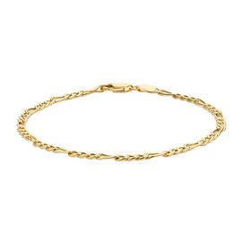 Close Out Deal Figaro Chain Bracelet in 9K Gold 8.5 Inch