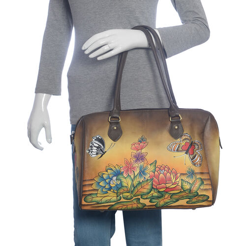 SUKRITI 100% Genuine Leather Brown and Multi Colour Hand Painted Water Lilies Shoulder Bag (Size 38x30.5x13 Cm)