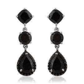 Boi Ploi Black Spinel (Pear) Dangle Earrings (With Push Back) in Rhodium Overlay with Black Plating Sterling Silver 11.190 Ct.