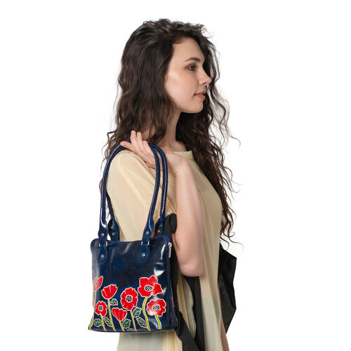 New Arrival 100% Genuine Leather Navy Blue Colour  Flower Pattern Handbag (Size 22.86x30.48x6.35)