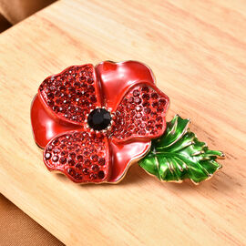 TJC Poppy Design - Black and Red Austrian Crystal Enamelled Poppy Flower Brooch