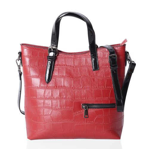 Chic Red 100% Genuine Leather Crocodile Embossed Tote Bag with High Glossed Shoulder Strap