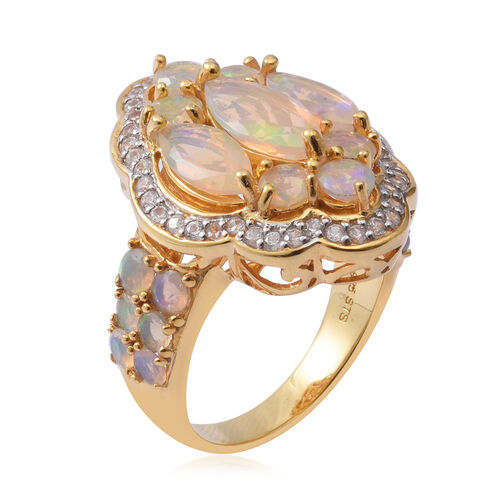 OTO- Ethiopian Welo Opal (Mrq 1.020 Ct), Natural White Cambodian Zircon Cluster Ring in Platinum Overlay and Yellow Gold Sterling Silver 4.700 Ct, Silver wt 9.60 Gms.