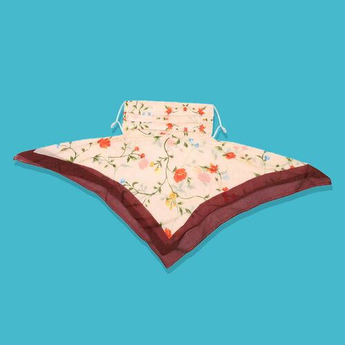 New Arrival- 2 in 1 Flower Pattern 100% Mulberry Silk Scarf and Protective Face Covering in Cream Colour (Size 40x40 Cm)