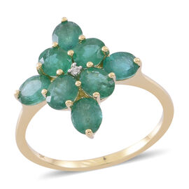 9K Yellow Gold AAA Kagem Zambian Emerald (Rnd), Natural White Cambodian Zircon Ring 2.500 Ct.