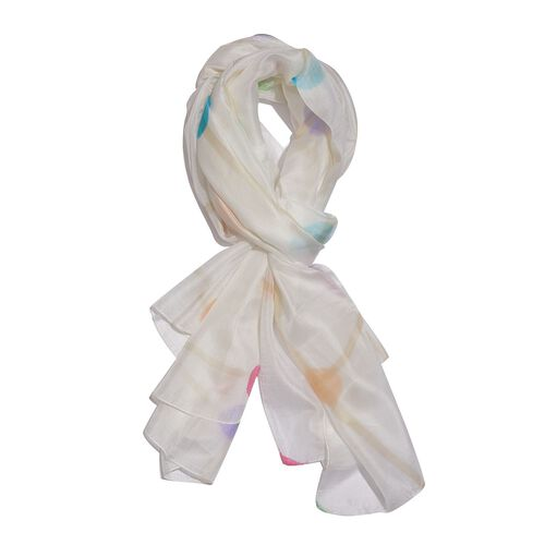 100% Mulberry Silk Green, White and Multi Colour Hand Screen Molecules Printed Scarf (Size 200X180 C