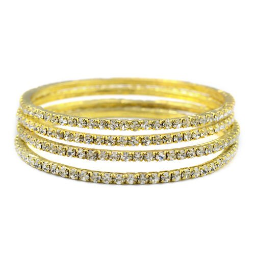 One Time Close Out - 4 Piece Set Simulated Diamond (Rnd) Bangle (Size 7.75) in Gold Tone