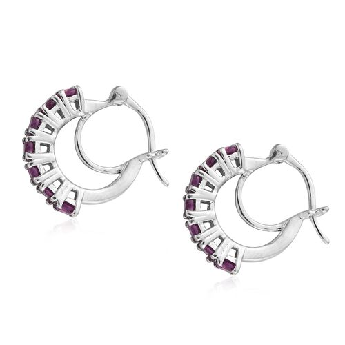 Purple Garnet Hoop Earrings (with Clasp) in Platinum Plated Silver 1.75 Ct