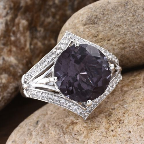 Alexandria Quartz (Rnd 10.25 Ct), Natural Cambodian Zircon Ring in Platinum Overlay Sterling Silver 11.000 Ct.