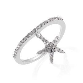 Diamond (Rnd) Star Charm Ring in Platinum Overlay Sterling Silver 0.330 Ct.