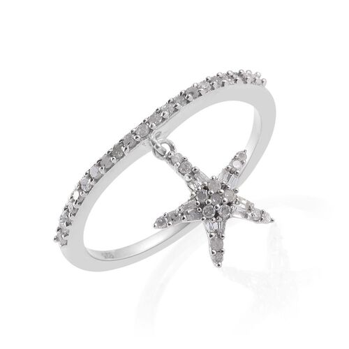 Diamond (Rnd) Star Charm Ring in Platinum Overlay Sterling Silver 0.330 Ct.