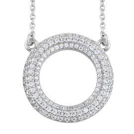 J Francis - Platinum Overlay Sterling Silver (Rnd) Circle of Life Necklace (Size 18) Made with SWAROVSKI ZIRCONIA, Silver wt 6.02 Gms