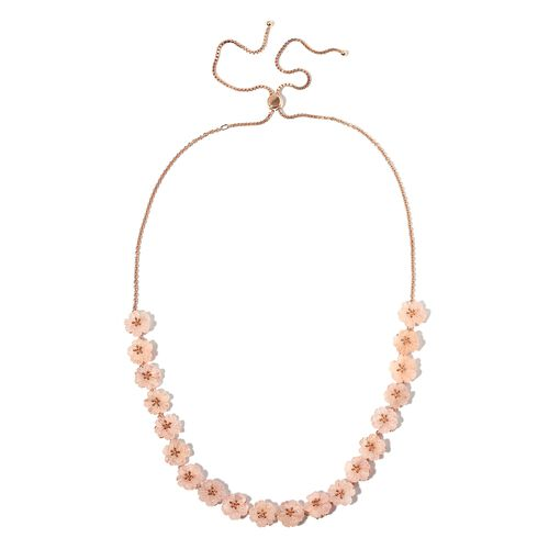 Jardin Collection-Extremely Rare Hand Carved Marropino Morganite Floral Necklace (Size 18 - 26) in R